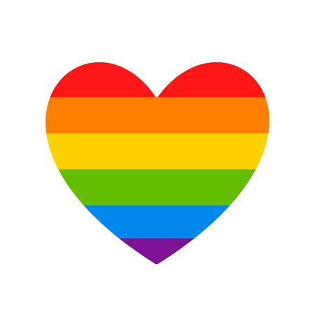 LGBT flag. LGBT pride flag of gay and lesbian, besexual and transgender. Human rights, sex orientation and tolerance concept. Heart symbol in rainbow colors. Vector
