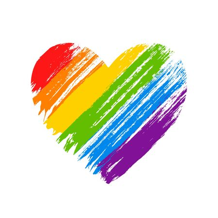 LGBT flag. LGBT pride flag. Human rights, sex orientation and tolerance concept. Heart symbol in rainbow colors. Vector