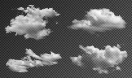 Realistic fluffy clouds isolated on transparent background. Set of transparent clouds with realistic texture, shine and sunlight effect. Vector Illustration