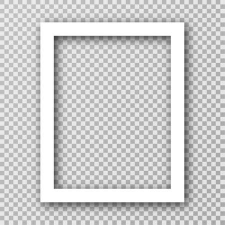 White photo frame for social media with white borders. Blank photo frame mockup with shadow effect and transparent background. Vertical picture frame. Vector