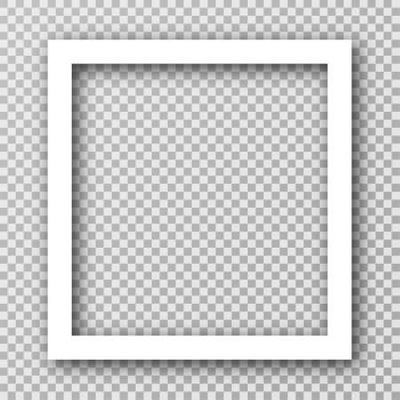 White photo frame for social media with white borders. Blank photo frame mockup with shadow effect and transparent background. Square picture frame. Vector