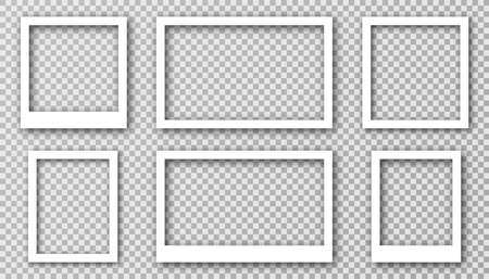 White photo frame for social media with white borders. Blank photo frame mockup with shadow effect and transparent background. Set of rectangle and square picture frames for collage. Vector