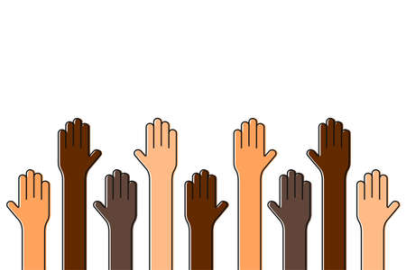 Stop racism. Black lives matter. Raised up hands of people with different skin colors. Justice and no racism concept. Vector Vettoriali