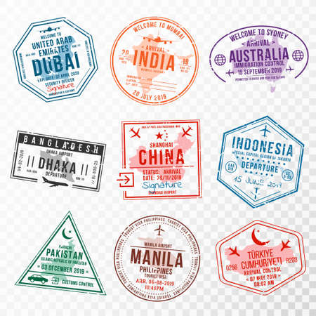 Set of travel visa stamps for passports. Abstract international and immigration office stamps. Arrival and departure visa stamps to Asian countries - China, India, Indonesia, Turkey. Vector Vettoriali