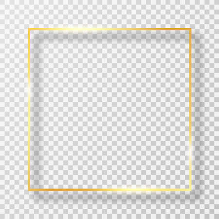 Golden frame in square shape with light effect. Golden luxury frame or border with glares and light on transparent background. Vector