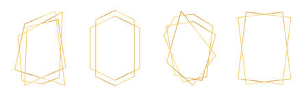 Set of golden geometric frames in art deco style. Luxury gold frames or borders for wedding invitations and wedding cards. Abstract geometric shapes. Vector