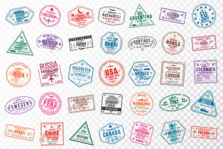 Set of travel visa stamps for passports. Abstract international and immigration office stamps. Arrival and departure visa stamps to Europe, America, Asia and Australia. Vector