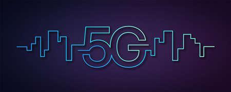 5G network wireless technology. Fifth generation of mobile internet. 5g technology, background and banner design. High speed internet, communication network concept. Vector Ilustração