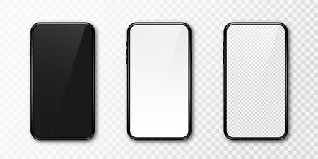 Realistic phone mockup. Set of modern phones with blank, black and transparent display. Smartphone design mockup in front view. Presentation and infographic templates. Vector Ilustração