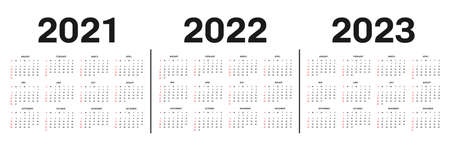 Calendar 2021, 2022 and 2023 template. Calendar template in black and white colors, holidays in red colors. Vector
