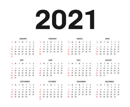 Calendar 2021 template. Calendar template in black and white colors, holidays in red colors. Vector
