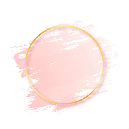 Pink brush stroke with golden round frame. Abstract pink brush stroke texture and luxury gold frame. Design element for cosmetic, fashion and beauty industry. Vector