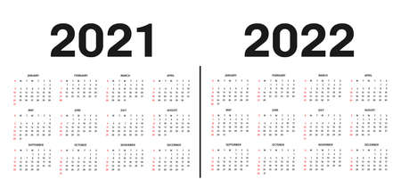 Calendar 2021 and 2022 template. Calendar template in black and white colors, holidays in red colors. Vector