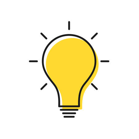 Creative idea and solution concept. Electric lamp icon with rays. Knowledge, problem solution, creative idea and thinking. Vector Illustration