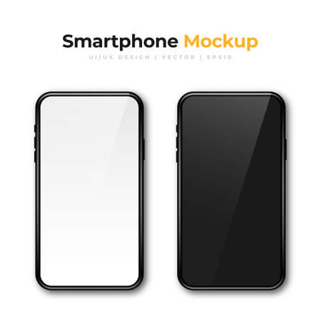 Realistic phone mockup. Set of modern phones with white and black display. Smartphone design mockup in front view. Vector Illustration