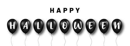 Happy Halloween background. Black balloons with letters for Halloween decoration. Scary and spooky background for Halloween holiday. Vector Illustration