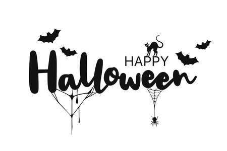 Happy Halloween lettering. Handwritten calligraphy with spider, cat and spider web for greeting card, poster, banner, flyer and invitation. Happy Halloween text, spooky background. Vector
