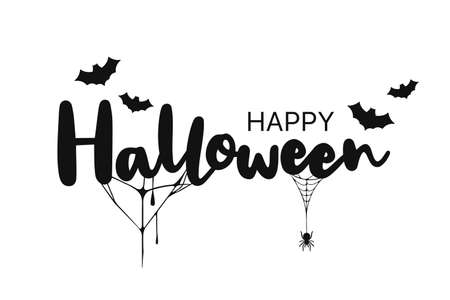 Happy Halloween lettering. Handwritten calligraphy with spider, bats and spider web for greeting card, poster, banner, flyer and invitation. Happy Halloween text, spooky background. Vector