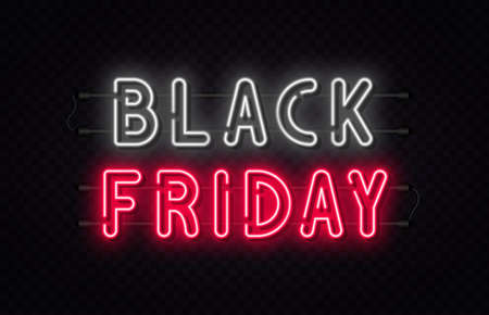 Black Friday sale. Black Friday neon sign on transparent background. Glowing white and red neon text for advertising and promotion. Banner and background, brochure and flyer design concept. Vector