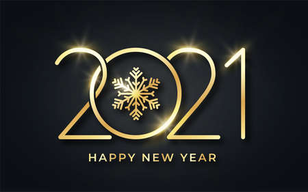 Happy New Year 2021. Happy New Year background. Golden text with snowflake and stylized 2021 number. Luxury golden text for greeting card, banner and postcard. Vector