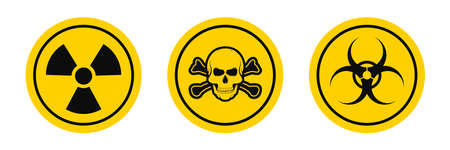 Hazard warning signs. Biological and radiation hazard. Toxic and chemical hazard icons isolated on white background. Vector Ilustrace