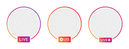 Live video streaming icons for social media. Social media app design elements, live streaming, online video. Vector Ilustrace