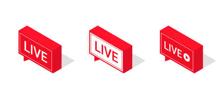 Set of live streaming icons, isometric style. Red symbols and buttons of live streaming, broadcasting, online stream. Lower third template for tv, shows, movies and live performances. Vector Ilustração