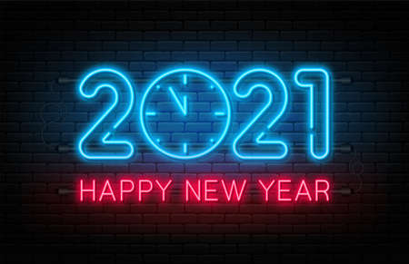 Happy New Year 2021. New Year and Christmas decoration, neon signboard with glowing text and clock. Neon light effect for background, banner, poster and greeting card. Vector