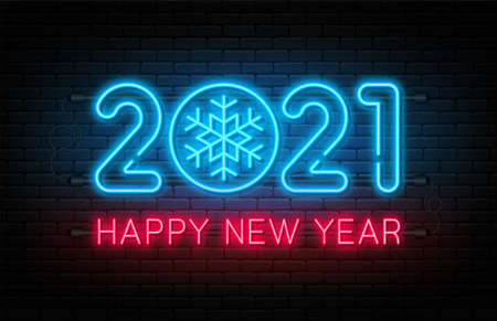 Happy New Year 2021. New Year and Christmas decoration, neon signboard with glowing text and snowflake. Neon light effect for background, banner, poster and greeting card. Vector Ilustração