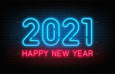 Happy New Year 2021. New Year and Christmas decoration, neon signboard with glowing text. Neon light effect for background, banner, poster and greeting card. Vector