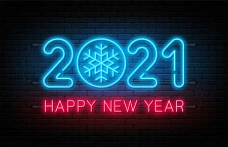 Happy New Year 2021. New Year and Christmas decoration, neon signboard with glowing text and snowflake. Neon light effect for background, banner, poster and greeting card. Vector 向量圖像