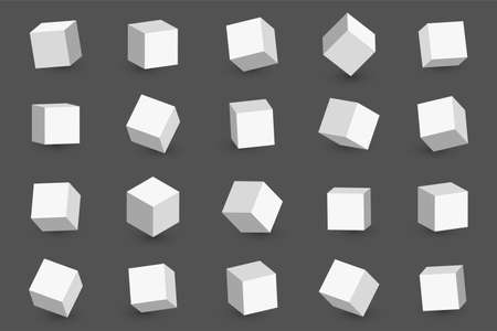 3d cubes in different perspective, angles and isometric view. White cubes or blocks with shadow isolated on background. Vector