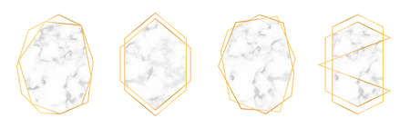 Set of golden geometric frames in art deco style with marble texture. Luxury gold frames and borders for wedding invitations and wedding cards. Abstract geometric shapes. Vector