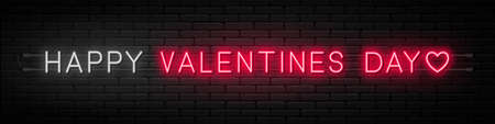 Happy Valentines Day neon signboard on dark background. Glowing neon text for Valentines Day. Vector
