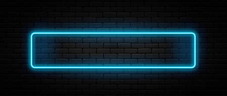 Neon sign in rectangle shape. Bright neon light, illuminated rectangle frame. Glowing blue neon tube on dark background. Signboard or banner template in 80s and 90s style. Vector