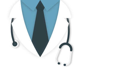 Medical and health care concept background. Doctor in lab coat with stethoscope on white background, space for text. Vector Ilustrace