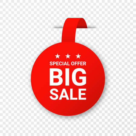Sale, price tag or label isolated on transparent background. Shopping sticker and badge for merchandise and promotion. Red sticker for web banners with realistic transparent shadow. Vector