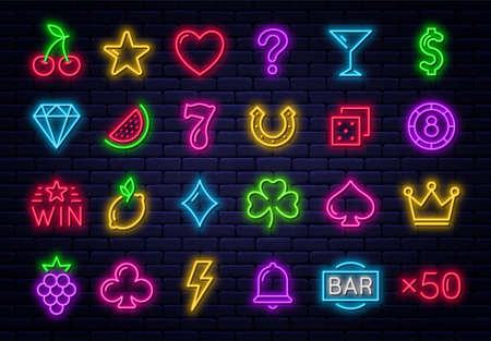 Casino icons for slot machine. Set of glowing neon gaming icons. Casino and gambling signs, fruits and online casino icons for slot machine bar. Vector
