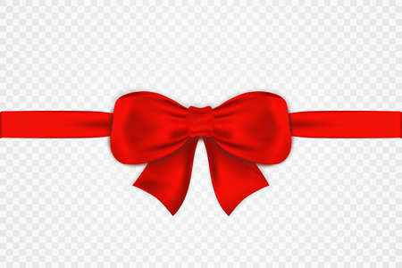 Red satin bow and horizontal ribbon isolated on transparent background. Tied luxury red bow for greeting card, gift box and other festive decoration. Realistic red bow with ribbon. Vector