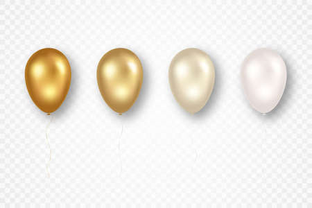 Golden flying balloons with ribbons isolated on transparent background. Happy birthday, party, wedding ceremony, anniversary celebration. Shiny and glossy balloons in different shades. Vector