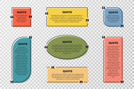 Quote text box, quote frame with space for text. Set of quotation bubbles. Transparent text box templates, message border and quote frames with colorful background. Vector