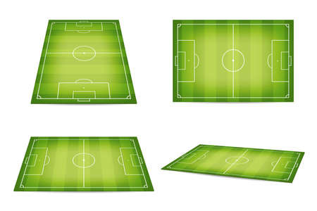 Soccer field, football pitch. Set of soccer fields in isometric and top view. Soccer field or football pitch with marking isolated on white background. Vector
