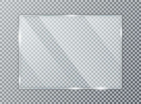 Glass plate on transparent background. Acrylic and glass texture with glares and light. Realistic transparent glass window in rectangle frame. Vector 向量圖像