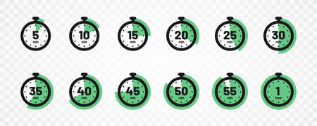 Set of timer and stopwatch icons. Kitchen timer icon with different minutes. Cooking time symbols and labels. Vector 向量圖像