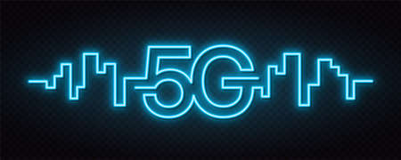 5G network wireless technology. Fifth generation of mobile internet. 5g technology, background and neon signboard design. High speed wireless internet. Vector