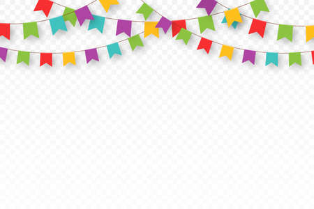 Carnival garland with pennants. Decorative colorful party flags for birthday celebration, festival and fair decoration. Festive background with hanging flags and pennants. Vector