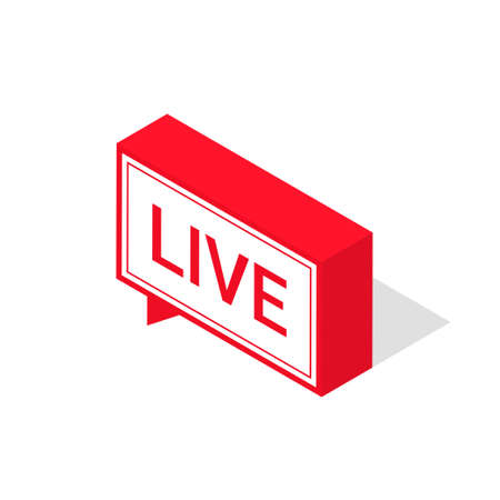 Live streaming icon, isometric style. Red symbol or button of live streaming, broadcasting, online stream. Lower third template for tv, shows, movies and live performances. Vector