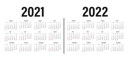 Calendar 2021 and 2022 template. Calendar layout in black and white colors. Week starts on sunday. Modern 2021 and 2022 calendar template on white background. Vector