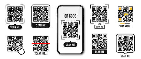 QR code, Quick Response code. QR code templates frames. Scan me, scanning tags of QR code. Set of templates for payment, link, application etc. Vector
