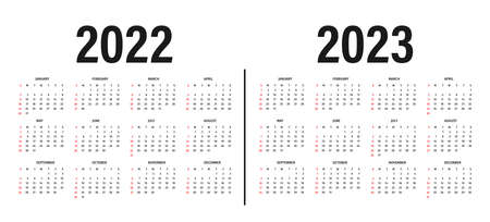 Calendar 2022 and 2023 template. Calendar layout in black and white colors. Week starts on sunday. Modern 2022 and 2023 calendar template on white background. Vector 向量圖像